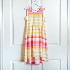 Children Place Stripe Cross-Back Hi-Low Maxi Dress